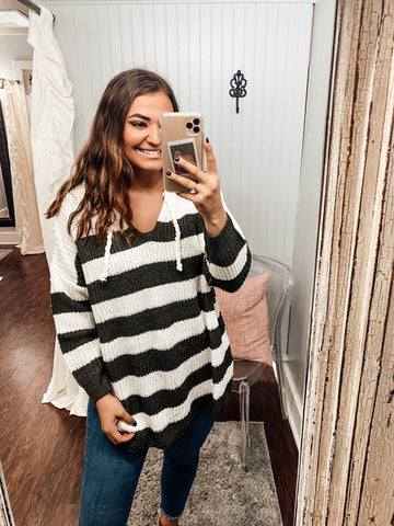 Olive & Stripes Pullover Sweater
