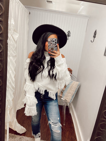 Wasn't My Season Open Shoulder Fringe Top | Ivory