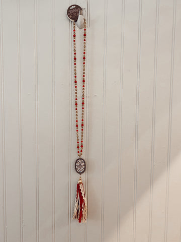Candace's Country Lace Red Tassel Necklace