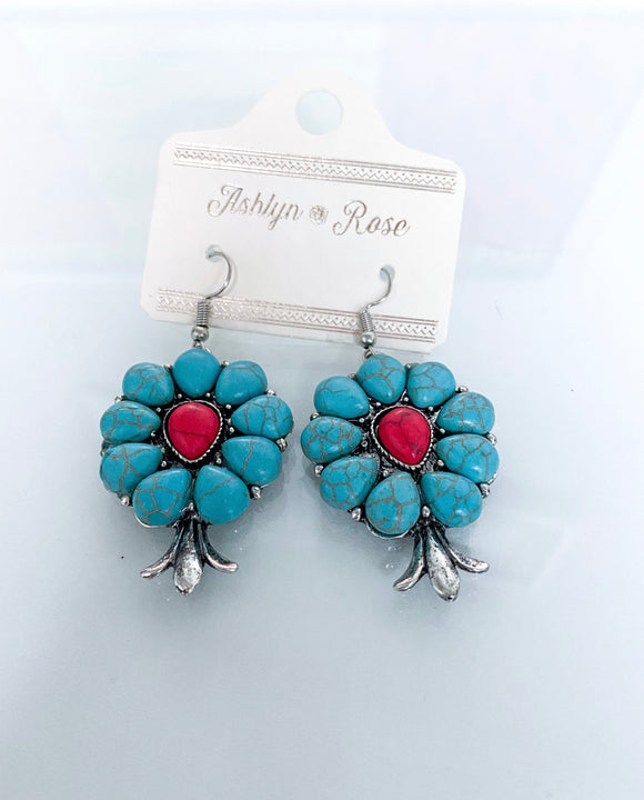 Stone Flower Earrings | Turquoise + Red