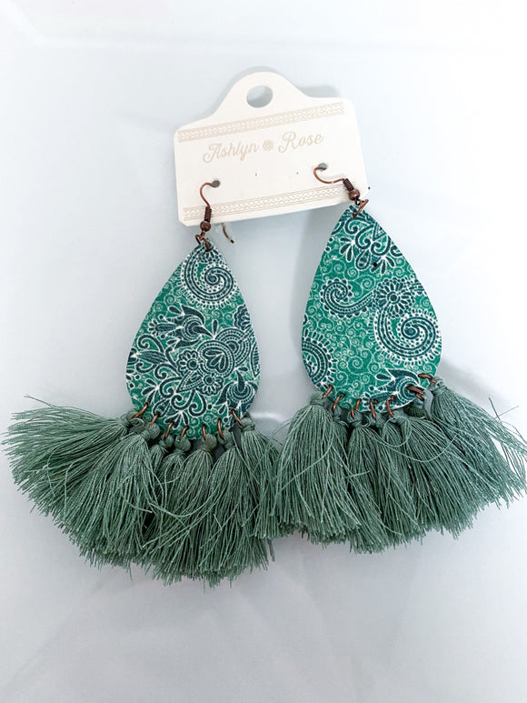 Pretty In Paisley Leather Teardrop Earrings | Green