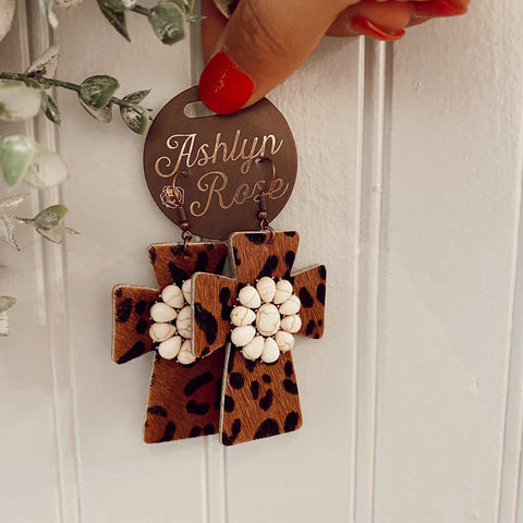 White Flower Stone Leopard Hide Cross Earrings
