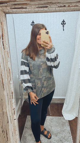 Tell Me All The Details Camo Knit Top