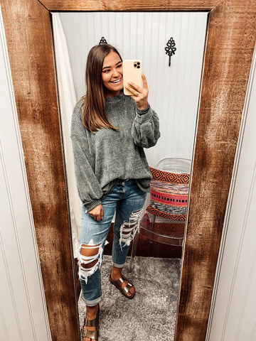 Here For You Chenille Knit Sweater | Olive