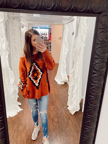 Over And Over Rust Aztec Sweater