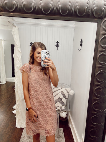Dusty Rose Crochet Lace Dress