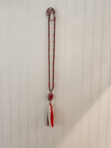 Red Crystal Oval Pendant Necklace with Tassel