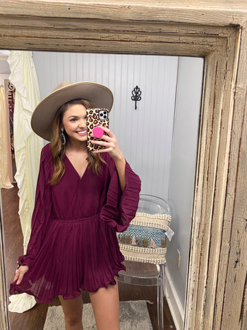 Even If I Tried Bell Sleeve Romper | Wine
