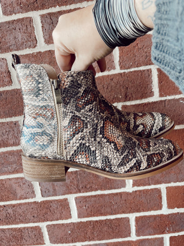 For The Weekend Snake Print Booties