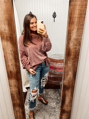 Here For You Chenille Knit Sweater | Mauve