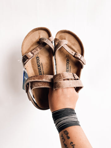 Yara Waxy Leather Birkenstocks | Tobacco Brown | Best Seller