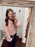 Pink & White Striped Hoodie Top