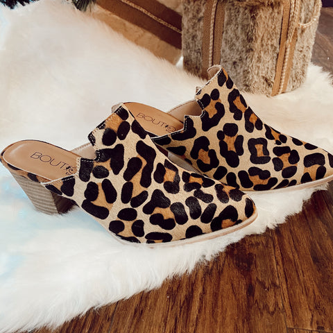 All About It Leopard Heel Mules