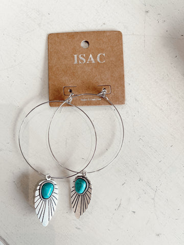 First Heard Turquoise Feather Earrings