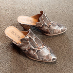 So Many Times Snake-Print Mules