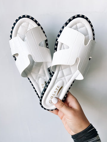 That's What You Get Studded Sandals | White