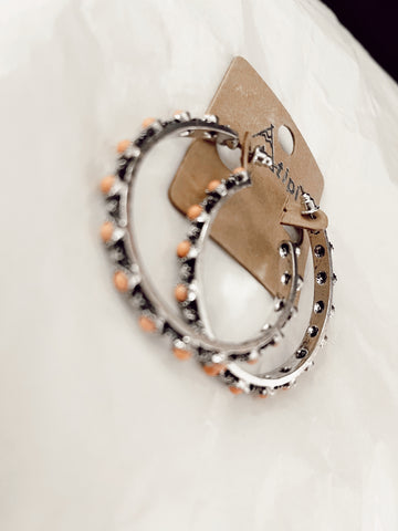 Coral Stone Hoops