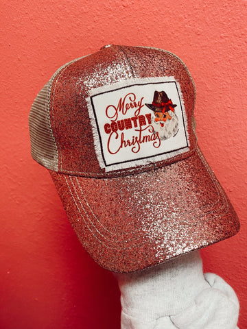 Merry Country Christmas High Ponytail Hat