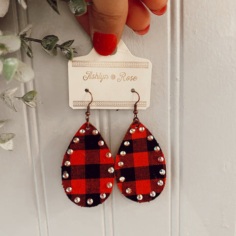 Love is All Around Buffalo Plaid Teardrop Earrings