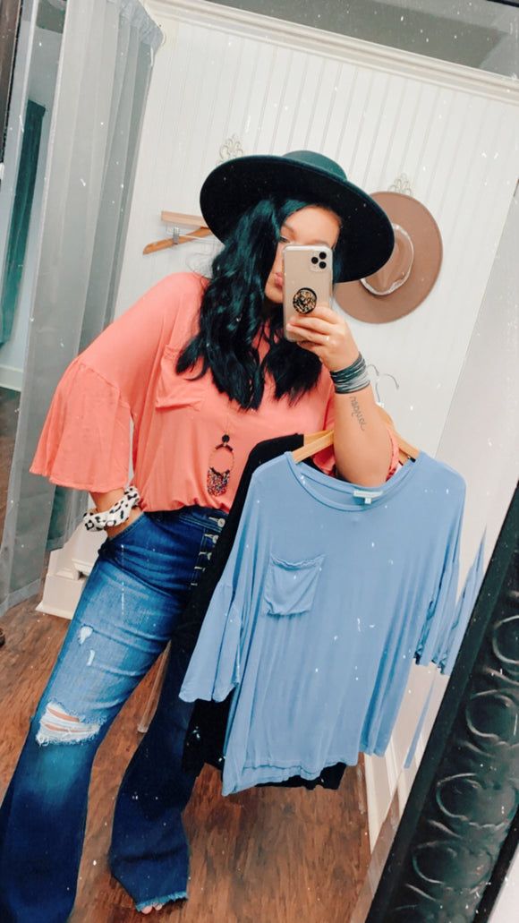 Flowy Top W/ Pocket | Colors