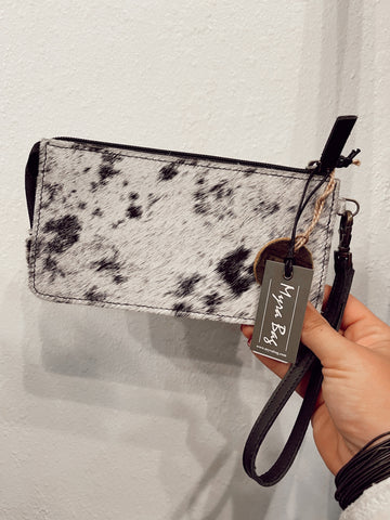 Mesmerizing Monochrome Leather & Hide Hair-On Wallet