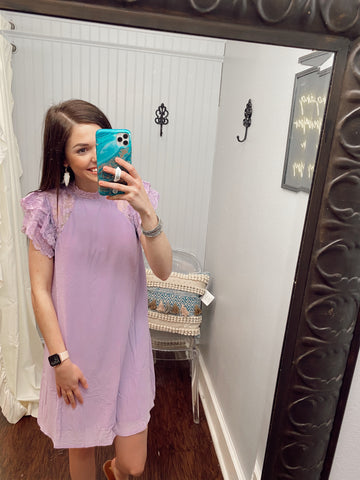 Flounce Lace Sleeve Lilac Dress