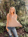 Taupe Sleeveless Knit Sweater Top