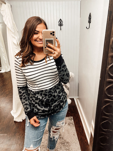 Blame Me Leopard Color Block Top