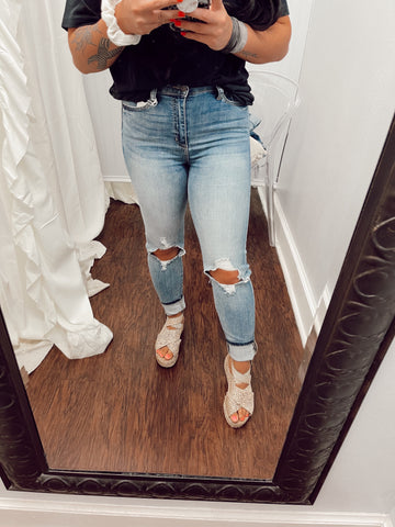 Goodbye Distressed High Rise Skinny Jeans