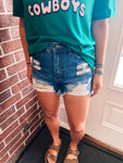 Ripped Front Denim Shorts