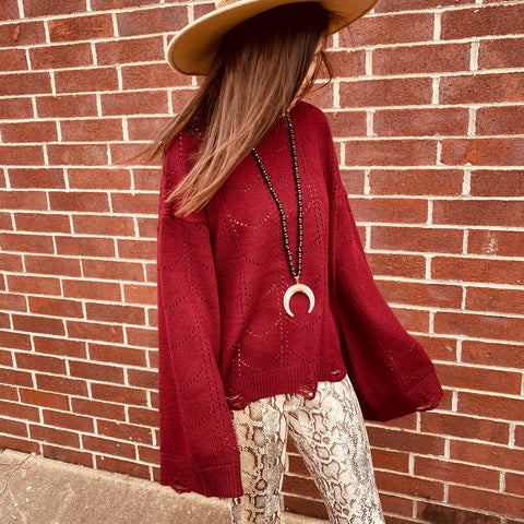 Take Me There Burgundy Knit Sweater