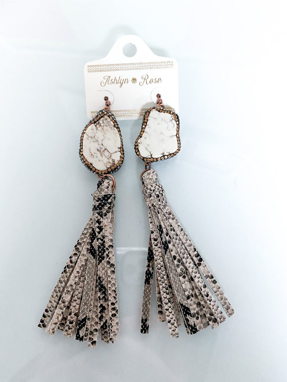 Rock The Look Snakeskin Tassel Earrings | White