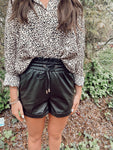 Black Faux Leather Paper Bag Shorts