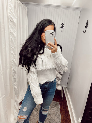 White As Snow Fringe OTS Knit Sweater