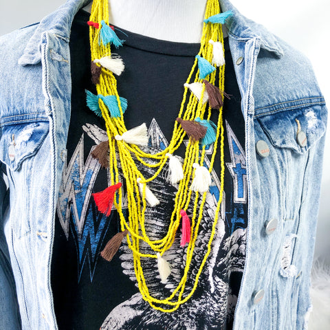 Two Tickets To Paradise Beaded Tassel Necklace | Yellow Multi