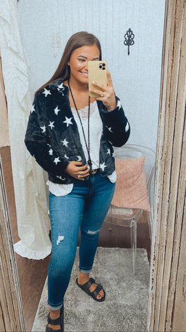 Faux Fur Star Print Jacket