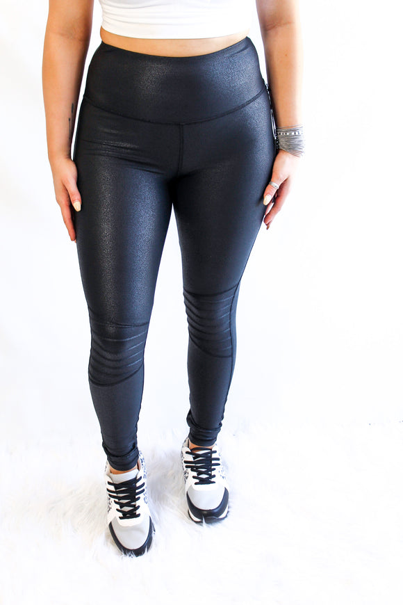 The Most Highwaisted Foiled Ribbed Leggings