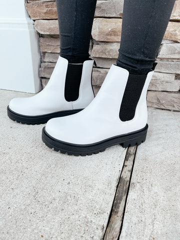 The Statement White Pilot Bootie
