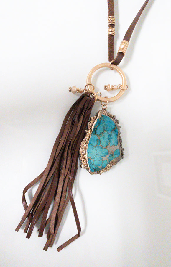 A Little Southern Charm Turquoise Stone Necklace with Tassel