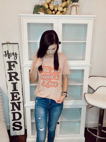 All You Need Is Love Peach Graphic Tee