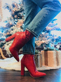 Red Croc High Ankle Booties