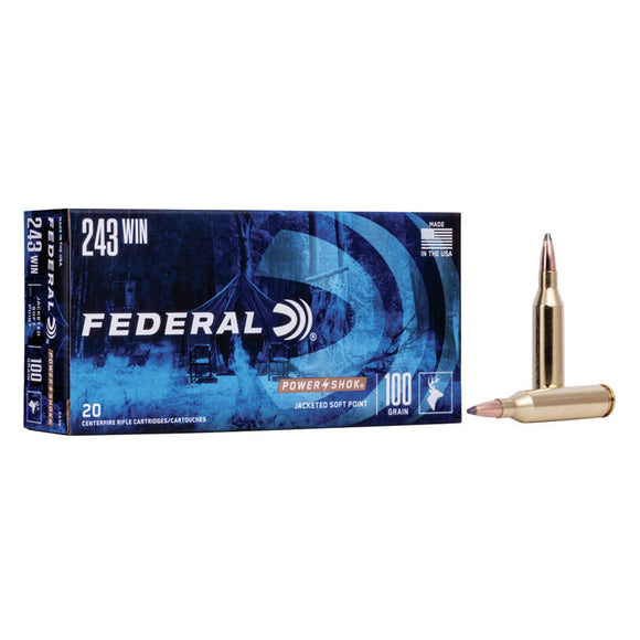 .243 Winchester - Federal Ammunition - Power•Shok Rifle JSP 100GR. 20RD/BX
