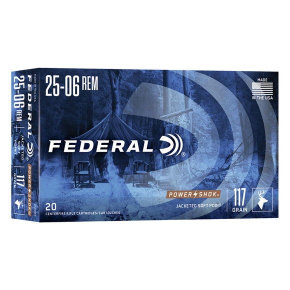 .25-06 REM - Federal Ammunition - Power•Shok JSP 117GR. 20RD/BX