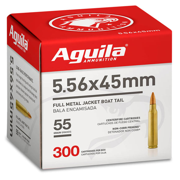 5.56 X 45mm - Aguila Ammunition - Rifle, NATO FMJBT, 55GR. 300RD/BX
