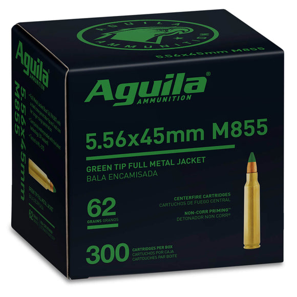 5.56 X 45mm M855 - Aguila Ammunition - Rifle, FMJGT, 62GR. 300RD/BX