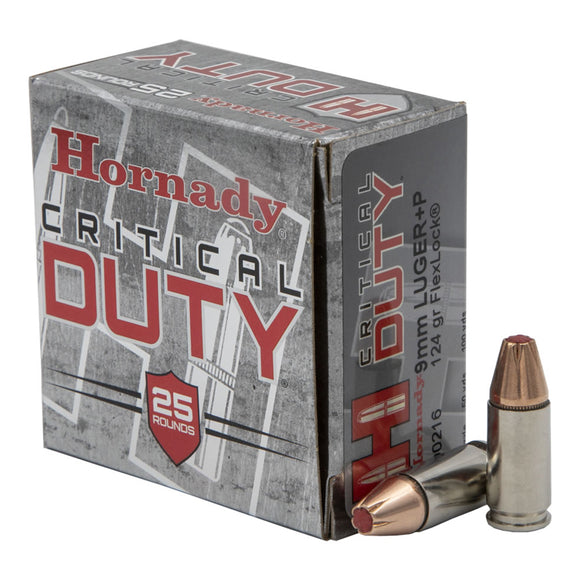9mm + P Luger, Hornady Ammunition, Critical Duty FLEXLOCK™ 124GR 25RD/BX