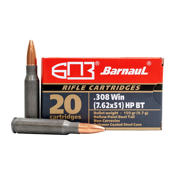 .308 WIN - Barnaul Ammunition - Rifle, HPBT, 150GR. 20RD/BX