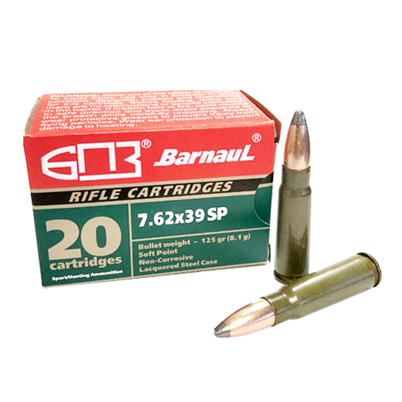 7.62x39mm - Barnaul Ammunition - Rifle, SP, 125GR. 20RD/BX