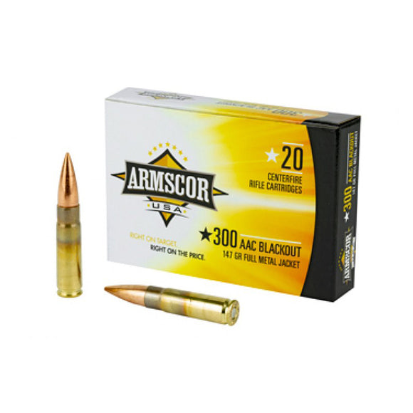 .300 AAC Blackout - ARMSCOR - Rifle, FMJ, 147GR. 20RD/BX