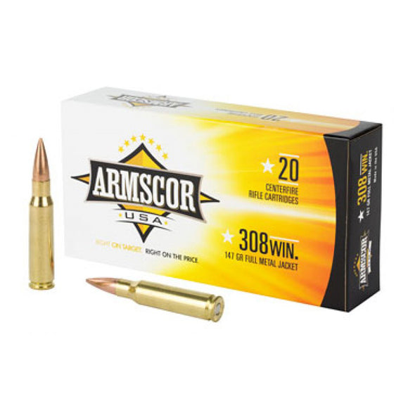 .308 WIN - ARMSCOR - Rifle, FMJ, 147GR. 20RD/BX
